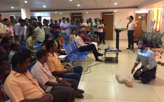 CPR & BLS Training and talk on stress management conducted for KSEB by Dr. James Cyriac & Capt J C Joseph at RIMS Hospital on 5th &6th November 2017